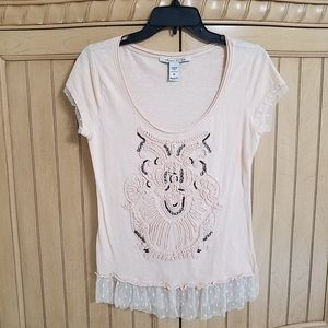 American Rag T w/Owl Picture, sz Med.